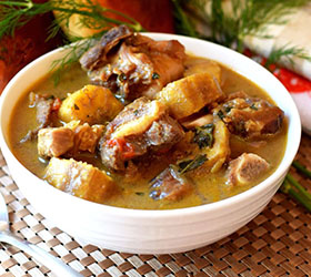 Cow meat pepper soup and plantains
